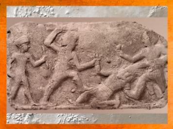D'après Humbaba, gardien de la forêt de Cèdres,abattu par Gilgamesh et Enkidu, vers 2000-1800 avjc, Mésopotamie. (Marsailly/Blogostelle)