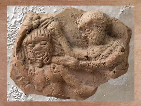 D'après Gilgamesh qui tue Humbaba, deuxième millénaire avjc, Mésopotamie, Syrie. (Marsailly/Blogostelle)