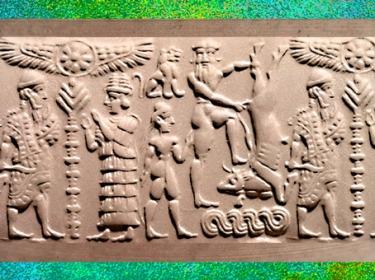 D'après le sceau dit de Gilgamesh (et le Taureau céleste), XVIIe siècle avjc, Mésopotamie, Syrie. (Marsailly/Blogostelle)