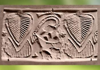 D'après une Plante et un capridé à longues cornes (ibex), sceau, vers 3100-2900 avjc Mésopotamie. (Marsailly/Blogostelle)