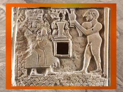 D'après une scène de Libation à la Grande Déesse aux Épis, divinité de la Végétation, IIIe millénaire avjc, art sumérien. (Marsailly/Blogostelle)