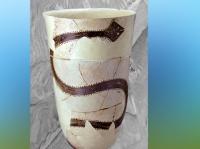 D'après Boisseau à motif de Serpent, terre cuite peinte, vers 4200 - 3800 avjc, nécropole de Suse, Iran actuel. (Marsailly/Blogostelle)