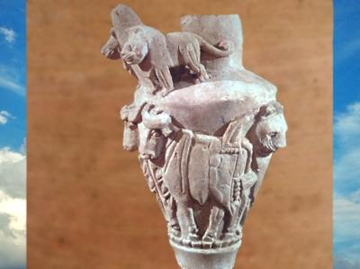D'après une cruche, lions et taureaux en haut relief, albâtre, Djemdet-Nars, vers 3000 avjc, Uruk, Mésopotamie. (Marsailly/Blogostelle)