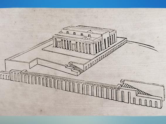 D'après le temple de Tell-Uqair, avec double terrasse, Uruk, vers 3300 avjc, Mésopotamie. (Marsailly/Blogostelle)