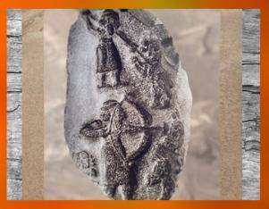 D'après la stèle dite de La Chasse, vers 3300 ans avjc, Uruk, Irak actuel, Mésopotamie. (Marsailly/Blogostelle)