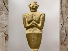 D'après une statuette d'Orant, période d'Uruk, vers 3300 avjc, calcaire, Mésopotamie. (Marsailly/Blogostelle)