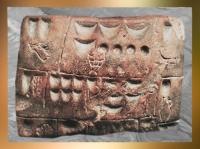 D'après des pictogrammes, argile, Uruk, fin IVe millénaire avjc, Mésopotamie, Irak actuel. (Marsailly/Blogostelle)