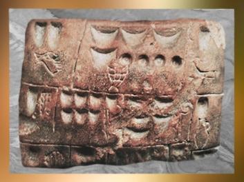 D'après des pictogrammes, argile, Uruk, fin IVe millénaire avjc, Irak actuel, Mésopotamie. (Marsailly/Blogostelle)