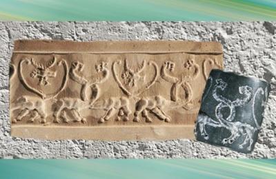 D'après un sceau-cylindre, animaux fantastique, Uruk, vers 3500-3000 ans avjc, Irak actuel, Mésopotamie. (Marsailly/Blogostelle)