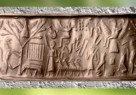 D'après une scène mythique, arbre de vie, troupeau et homme-oiseau, sceau cylindre, période d'Akkad, fin IIIe millénaire avjc, Mésopotamie. (Marsailly/Blogostelle)