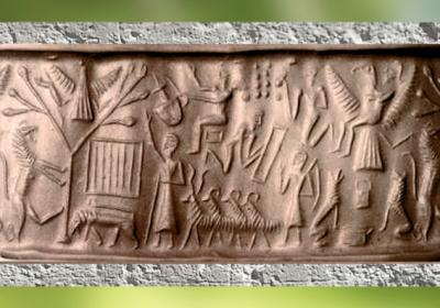 D'après une scène mythique, arbre de vie, troupeau et homme-oiseau, sceau-cylindre, vers 2340 – 2200 avjc, période d'Agadé (Akkad), Mésopotamie. (Marsailly/Blogostelle)