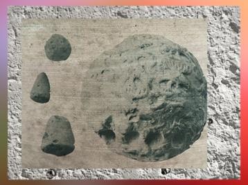 D'après une bulle-enveloppe et ses calculi, période d'Uruk, vers 3400 avjc, terre un peu cuite, Suse, Mésopotamie. (Marsailly/Blogostelle)