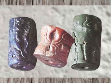 D'après des sceaux-cylindres, lapis-lazuli et pierre verte, vers 3300-2500 avjc, Mésopotamie. (Marsailly/Blogostelle)