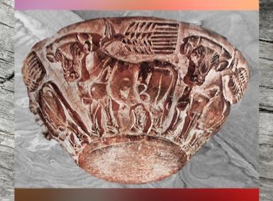 D'après une coupe en stéatite, taureau et épis de blé, vers 3500-3000 ans avjc, Uruk, Irak actuel, Mésopotamie. (Marsailly/Blogostelle)