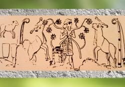 D'après le Roi-Prêtre et le Troupeau Sacré d'Inanna, sceau-cylindre d'Uruk, vers 3000 ans avjc, époque de Djemdet-Nasr. (Marsailly/Blogostelle)