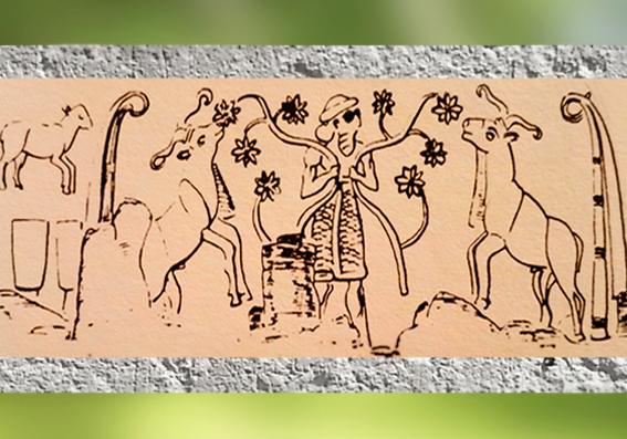 D'après le Roi-Prêtre et le troupeau sacré d'Inanna, empreinte de sceau-cylindre, Uruk, vers 3000 ans avjc, époque de Djemdet-Nasr, Mésompotamie. (Marsailly/Blogostelle)