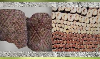 D'après des mosaïques, cônes peints, terre cuite, temple d'Uruk, fin IVe millénnaire avjc, Irak actuel, Mésopotamie. (Marsailly/Blogostelle)