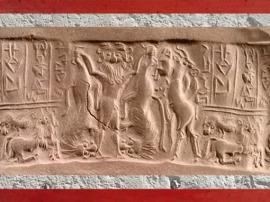 D'après le thème du Maître des Animaux, sceau d'Ishma-ilum, prince de Kisik, vers 2450 avjc, dynastie archaïques. (Marsailly/Blogostelle)