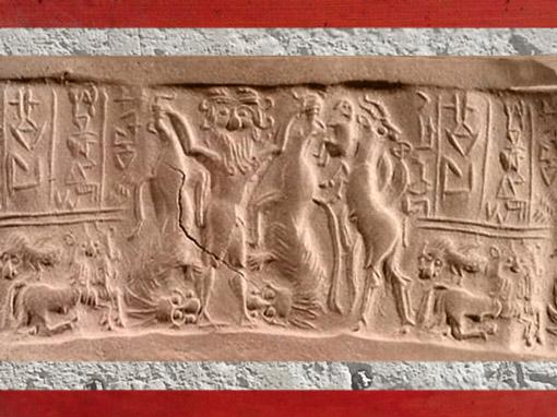 D'après le Maître des Animaux, sceau d'Ishma-ilum, prince de Kisik, vers 2450 avjc, dynastie archaïques, Mésopotamie. (Marsailly/Blogostelle)