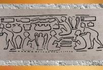 D'après une empreinte de sceau, magasin de poteries, époque d'Uruk, vers 3300 ans avjc, Suse, Iran actuel, Orient ancien. (Marsailly/Blogostelle)