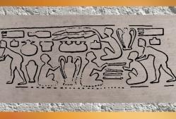 D'après une empreinte de sceau, magasin de poteries, époque d'Uruk, vers 3300 ans avjc, Suse (Iran actuel), Mésopotamie. (Marsailly/Blogostelle)