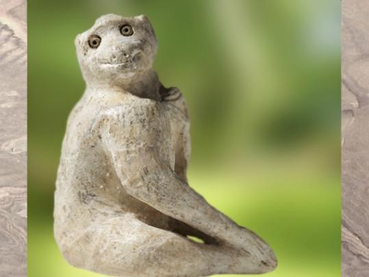 D'après un petit singe, albâtre, IIIe millénaire avjc, Elam, Iran actuel, Orient ancien. (Marsailly/Blogostelle)