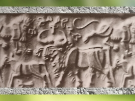 D'après le thème du Maître des Animaux, mastic de bitume, IVe-IIIe millénaire avjc, art proto-élamite, Pays d'Elam, Iran actuel. (Marsailly/Blogostelle)