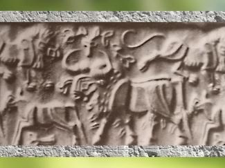 D'après le Maître des Animaux, mastic de bitume, IVe-IIIe millénaire avjc, proto-élamite, Pays d'Élam, Iran actuel, Orient ancien. (Marsailly/Blogostelle)
