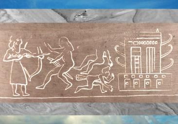 D'après un temple et roi-prêtre au combat, empreinte de sceau, époque d'Uruk, vers 3300 avjc, Suse, Iran actuel, Orient ancien. (Marsailly/Blogostelle)