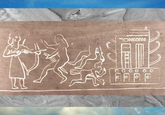 D'après une empreinte de sceau, image de temple et roi-prêtre au combat, époque d'Uruk, vers 3300 ans avjc, Suse, actuel Iran. (Marsailly/Blogostelle)