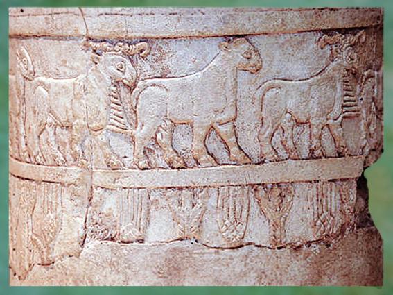 D'après un vase cultuel, frise, albâtre, Uruk, vers 3500-3000 ans avjc, Irak actuel. (Marsailly/Blogostelle)