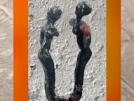 D'après des danseuses, décor d'épingle, cuivre, vers 3000 ans avjc, Tello, Mésopotamie. (Marsailly/Blogostelle)