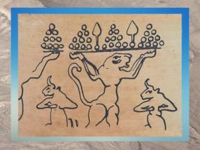 D'après une lionne-atlante et taureaux, vers 3000-2900 ans avjc, pays d'Élam, Iran actuel, Orient ancien. (Marsailly/Blogostelle)
