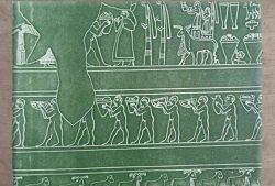 D'après une scène cultuelle et procession, vase cultuel d'Uruk, vers 3000 avjc, Mésopotamie.(Marsailly/Blogostelle)