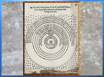 D'après un modèle héliocentrique, doctrine pythagoricienne, ouvrage de Thomas Digges, 1576, Londres, XVIe siècle, Renaissance. (Marsailly/Blogostelle)