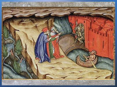 D'après Dante et Virgile, la porte de Dité, Inferno, Maître de la Vitae Imperatorum, 1400-1450, enluminure, duc de Milan, Filippo Maria Visconti, XVe siècle. (Marsailly/Blogostelle)