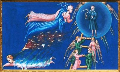 D'après Dante et Béatrice, la sphère de Saturne, Divine Comédie, Giovanni di Paolo, 1450 apjc,Toscane, Renaissance italienne. (Marsailly/Blogostelle)