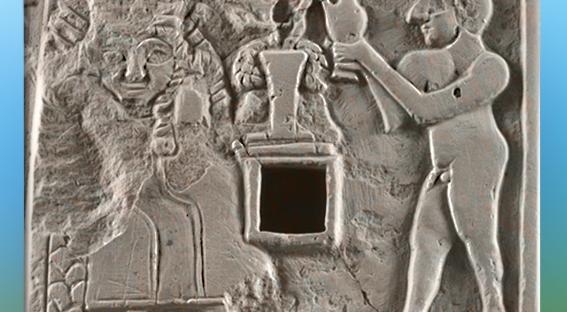 D'après une scène de libation à la déesse de la Fertilité, relief votif calcaire, vers 2500 avjc, dynasties archaïques, antique Girsu, Tello, Irak actuel, Mésopotamie. (Marsailly/Blogostelle)