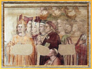 D'après la fresque du Paradis, Giotto Di Bondonne, 1335, Divine Comédie, chapelle du Bargello, Florence, XIVe siècle, fin époque Médiévale. (Marsailly/Blogostelle)