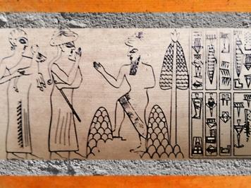 D'après une scène d'adoration et d'offrande, sceau de Lugal-Ushumgal, deuxième moitié du IIIe millénaire avjc, bulle de Tello, Irak actuel, Mésopotamie. (Marsailly/Blogostelle)