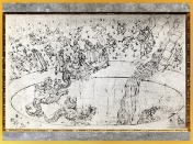 D'après le monstre Géryon, Dante et Virgile, l'Enfer, Sandro Botticelli, 1480-1495, Divine Comédie, XVe siècle, Renaissance. (Marsailly/Blogostelle)