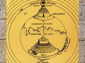 D'après le cône de l'Enfer, le Mont du Purgatoire et à la sphère de la Lune, Divine Comédie, édition Thomas Digges, 1576, Londres. (Marsailly/Blogostelle)