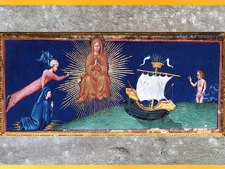 D'après le Paradis, vaisseau, de Giovanni di Paolo, 1450, Divine Comédie, Toscane, XVe siècle, Renaissance. (Marsailly/Blogostelle)