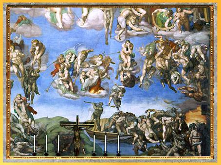D'après le passeur Charon, chassant les damnés hors de sa barque, Michelangelo, 1536-1541, Jugement Dernier, chapelle Sixtine, XVIe siècle, Renaissance. (Marsailly/Blogostelle)