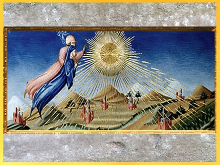 D'après le Paradis, Dante et Béatrice s'envolant vers les Cieux, de Giovanni di Paolo, 1450, Divine Comédie, Toscane, XVe siècle, Renaissance. (Marsailly/Blogostelle)