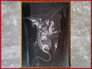 D'après le monstre Géryon, Dante et Virgile, l'Enfer, de Gustave Doré, 1861, La Divine Comédie, XIXe siècle. (Marsailly/Blogostelle)