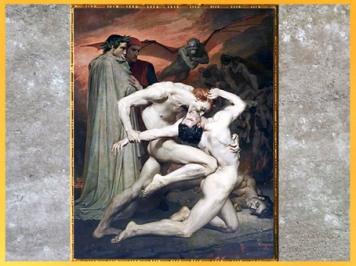 D'après l'Enfer, Dante, Virgile et un combat de damnés, de William Bouguereau, 1850, Divine Comédie, XIXe siècle. (Marsailly/Blogostelle)