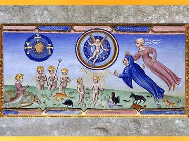 D'après Dante et Béatrice au Paradis, trois croix évoquent le Mystère de la Trinité, la Divine Comédie, Giovanni di Paolo, 1450, Toscane, XVe siècle, Renaissance. (Marsailly/Blogostelle)