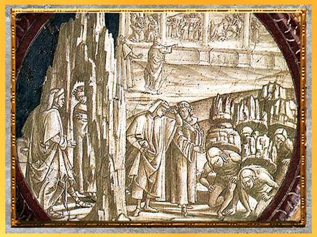 D'après Dante et Virgile, détail, Purgatoire, de Luca Signorelli, fresque, San Brizio, Orvieto 1499-1502, Divine Comédie, début XVIe siècle. (Marsailly/Blogostelle)
