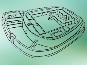 D'après un dessin du temple Ovale de Khafadjé, ancienne Tutub, vers 2700 ans avjc, période des dynasties archaïques, Sumer, région de la Diyâlâ , Irak actuel, Mésopotamie. (Marsailly/Blogostelle)